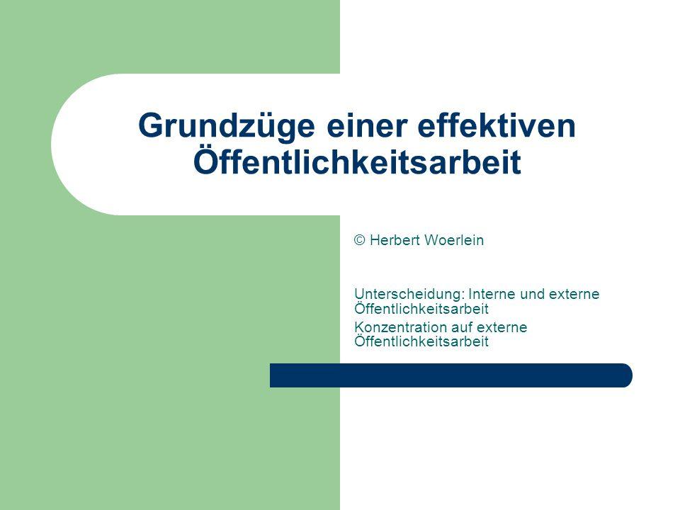 Grundzüge einer effektiven Öffentlichkeitsarbeit © Herbert Woerlein Unterscheidung: Interne und externe Öffentlichkeitsarbeit Konzentration auf extern
