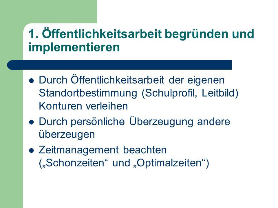 1. Öffentlichkeitsarbeit begründen und implementieren Durch Öffentlichkeitsarbeit der eigenen Standortbestimmung (Schulprofil, Leitbild) Konturen verl