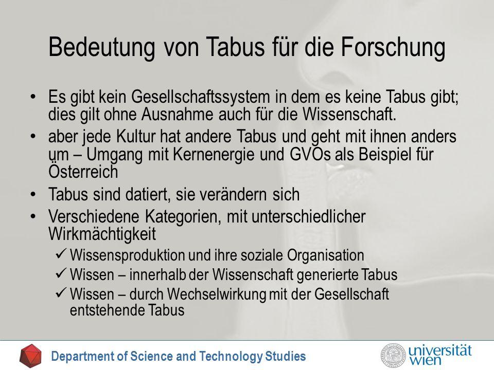 Bedeutung von Tabus für die Forschung Es gibt kein Gesellschaftssystem in dem es keine Tabus gibt; dies gilt ohne Ausnahme auch für die Wissenschaft.