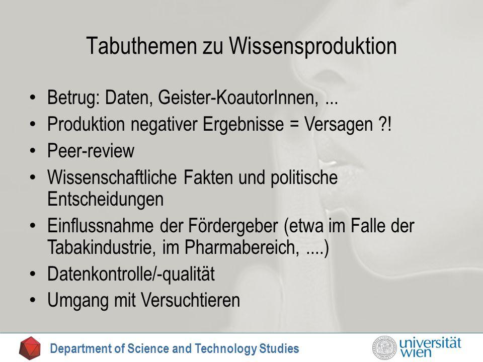 Tabuthemen zu Wissensproduktion Betrug: Daten, Geister-KoautorInnen,... Produktion negativer Ergebnisse = Versagen ?! Peer-review Wissenschaftliche Fa