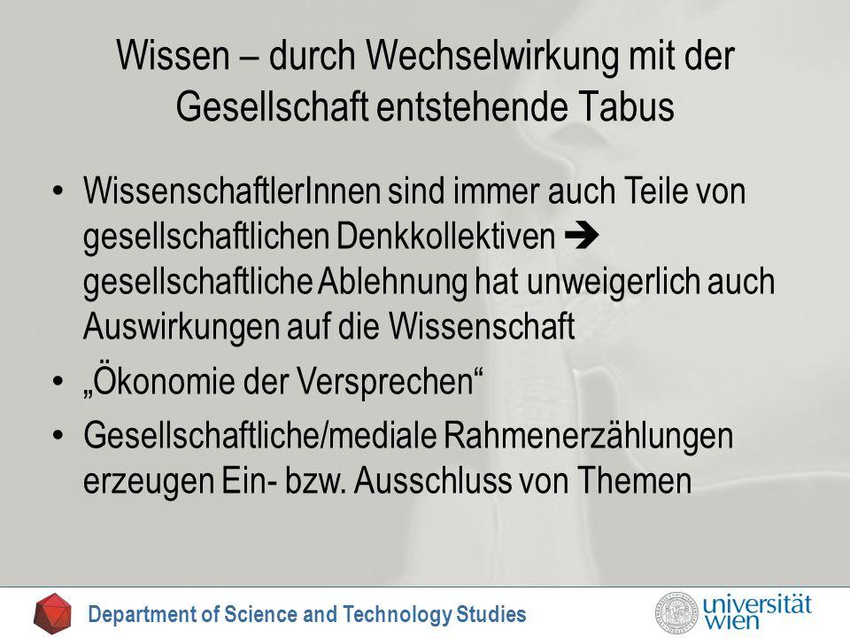 Wissen – durch Wechselwirkung mit der Gesellschaft entstehende Tabus WissenschaftlerInnen sind immer auch Teile von gesellschaftlichen Denkkollektiven