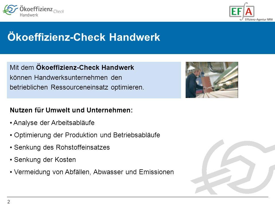 2 Mit dem Ökoeffizienz-Check Handwerk können Handwerksunternehmen den betrieblichen Ressourceneinsatz optimieren.