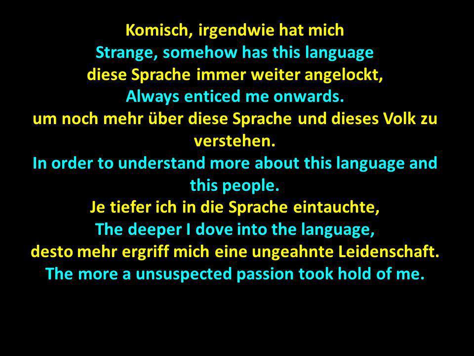 Komisch, irgendwie hat mich Strange, somehow has this language diese Sprache immer weiter angelockt, Always enticed me onwards. um noch mehr über dies