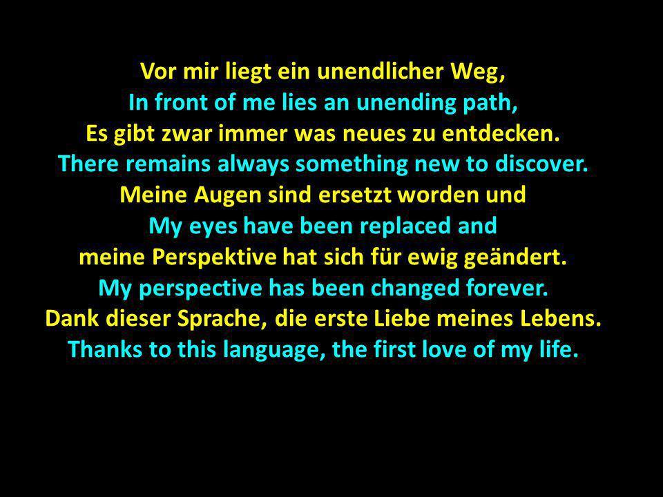 Vor mir liegt ein unendlicher Weg, In front of me lies an unending path, Es gibt zwar immer was neues zu entdecken. There remains always something new