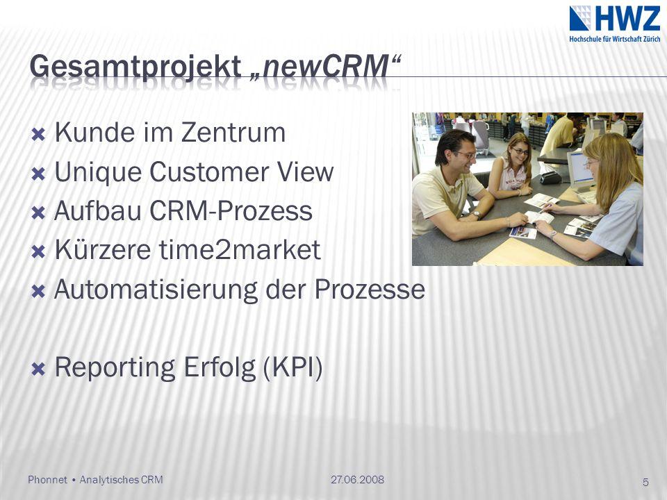Kunde im Zentrum Unique Customer View Aufbau CRM-Prozess Kürzere time2market Automatisierung der Prozesse Reporting Erfolg (KPI) 27.06.2008 5