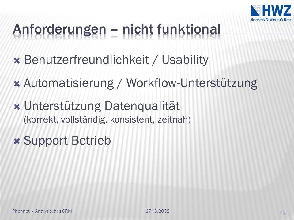 Benutzerfreundlichkeit / Usability Automatisierung / Workflow-Unterstützung Unterstützung Datenqualität (korrekt, vollständig, konsistent, zeitnah) Support Betrieb 27.06.2008Phonnet Analytisches CRM 20