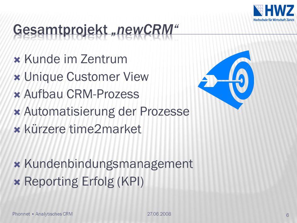 Kunde im Zentrum Unique Customer View Aufbau CRM-Prozess Automatisierung der Prozesse kürzere time2market Kundenbindungsmanagement Reporting Erfolg (KPI) 27.06.2008 6