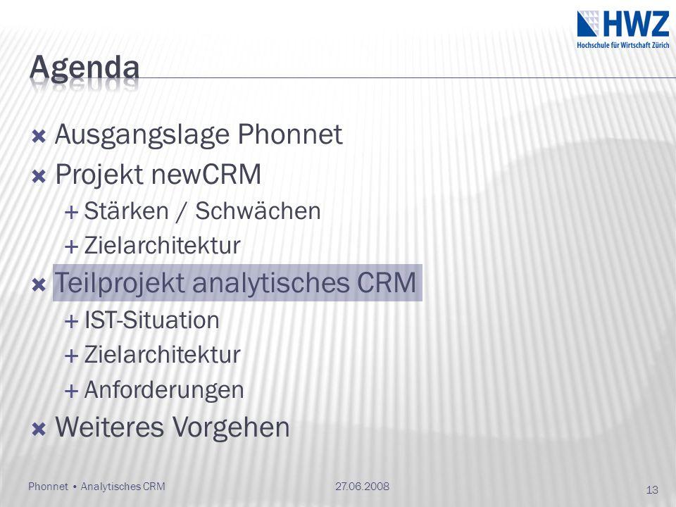 Ausgangslage Phonnet Projekt newCRM Stärken / Schwächen Zielarchitektur Teilprojekt analytisches CRM IST-Situation Zielarchitektur Anforderungen Weite