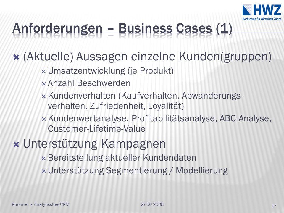 (Aktuelle) Aussagen einzelne Kunden(gruppen) Umsatzentwicklung (je Produkt) Anzahl Beschwerden Kundenverhalten (Kaufverhalten, Abwanderungs- verhalten