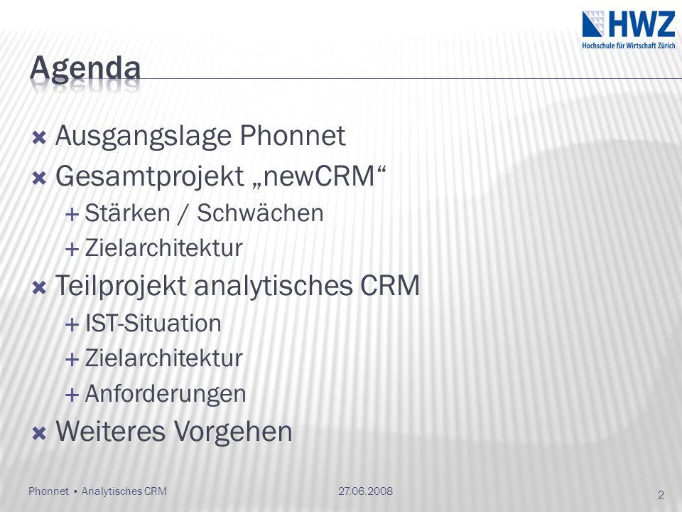 Ausgangslage Phonnet Gesamtprojekt newCRM Stärken / Schwächen Zielarchitektur Teilprojekt analytisches CRM IST-Situation Zielarchitektur Anforderungen