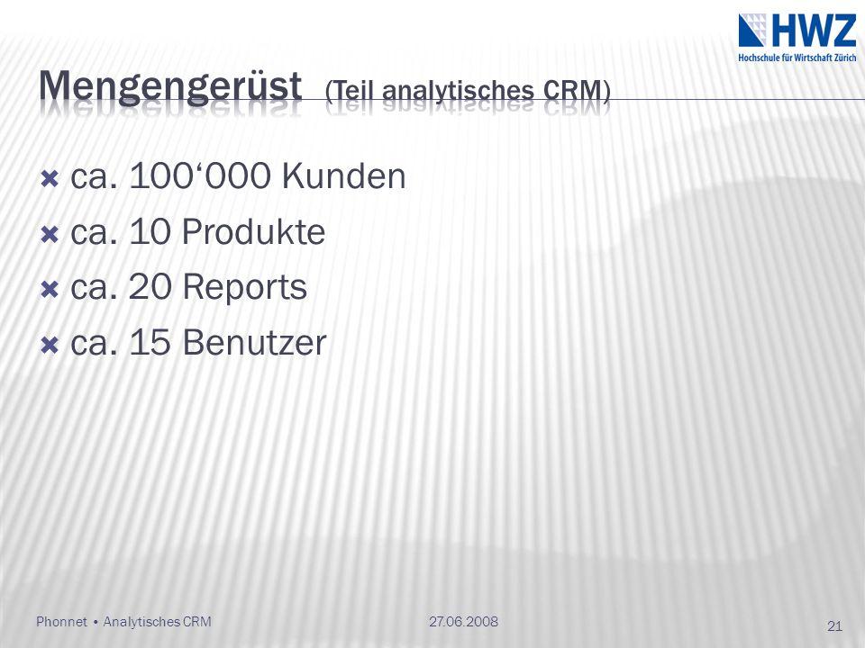 ca. 100000 Kunden ca. 10 Produkte ca. 20 Reports ca. 15 Benutzer 27.06.2008Phonnet Analytisches CRM 21