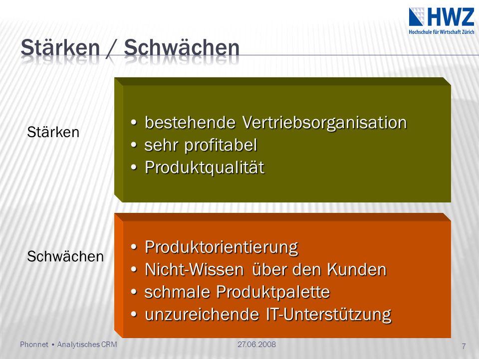 Phonnet Analytisches CRM bestehende Vertriebsorganisation bestehende Vertriebsorganisation sehr profitabel sehr profitabel Produktqualität Produktqual