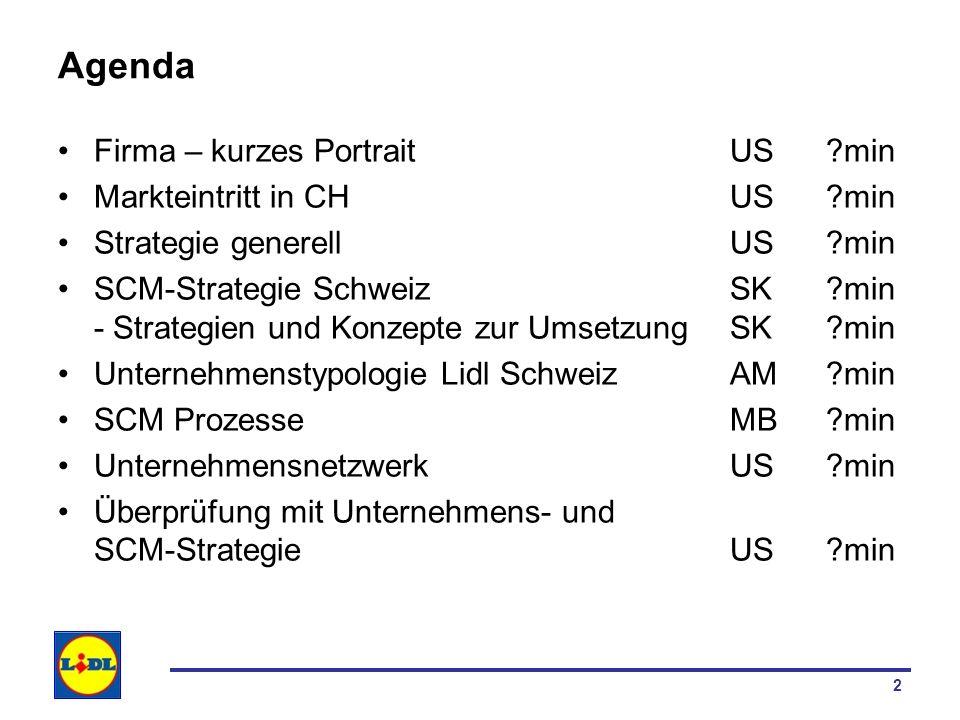 2 Agenda Firma – kurzes PortraitUS ?min Markteintritt in CHUS?min Strategie generellUS ?min SCM-Strategie Schweiz SK?min - Strategien und Konzepte zur