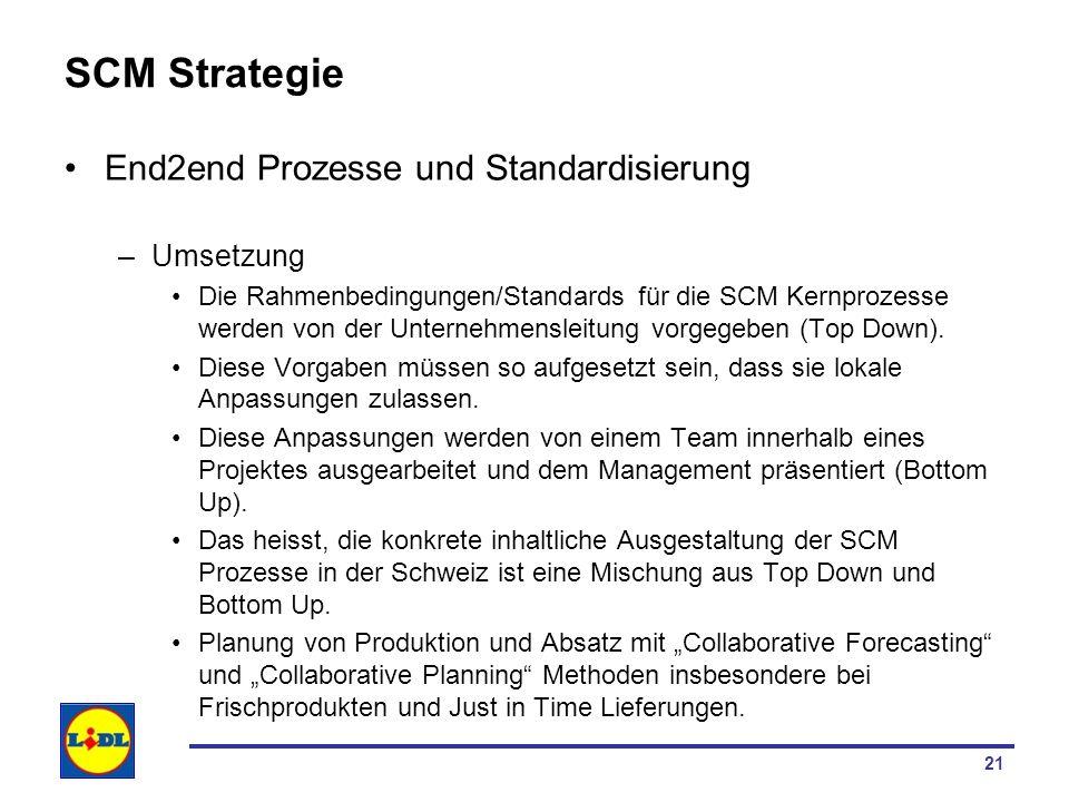 21 SCM Strategie End2end Prozesse und Standardisierung –Umsetzung Die Rahmenbedingungen/Standards für die SCM Kernprozesse werden von der Unternehmens