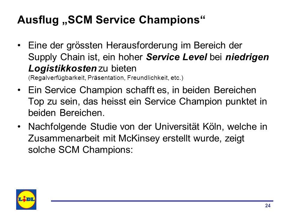 24 Ausflug SCM Service Champions Eine der grössten Herausforderung im Bereich der Supply Chain ist, ein hoher Service Level bei niedrigen Logistikkost