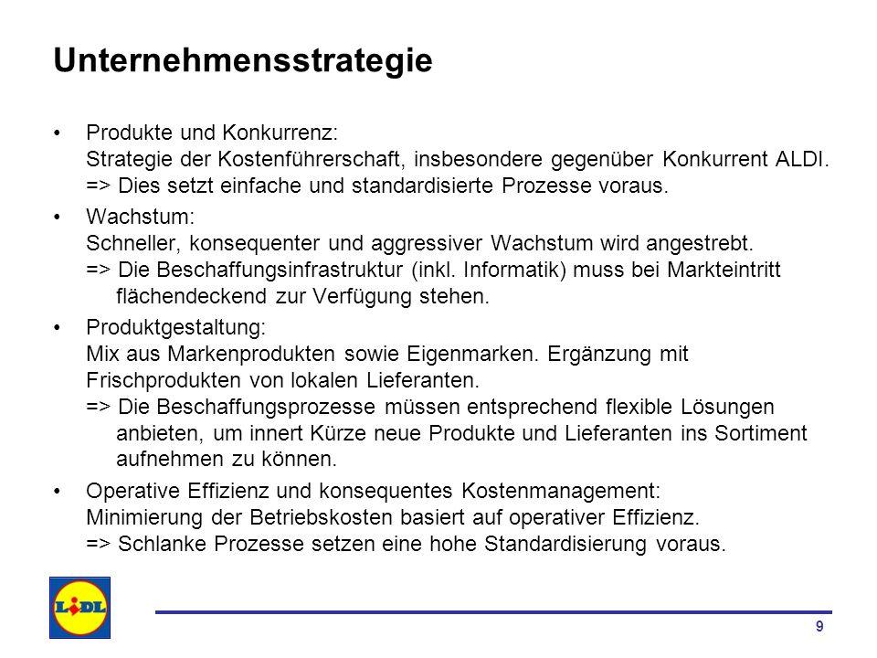 9 Unternehmensstrategie Produkte und Konkurrenz: Strategie der Kostenführerschaft, insbesondere gegenüber Konkurrent ALDI. => Dies setzt einfache und