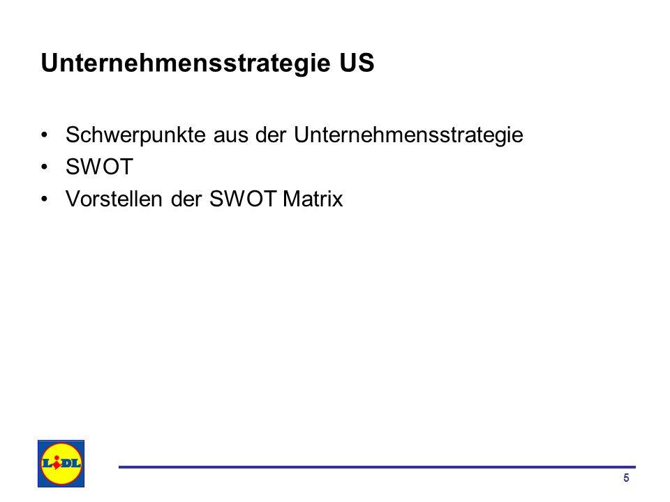 5 Unternehmensstrategie US Schwerpunkte aus der Unternehmensstrategie SWOT Vorstellen der SWOT Matrix