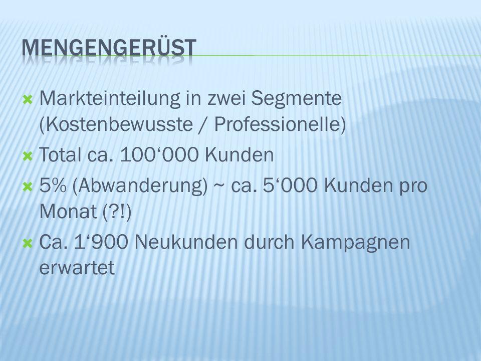 Markteinteilung in zwei Segmente (Kostenbewusste / Professionelle) Total ca.