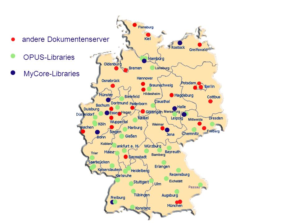 OPUS-Libraries MyCore-Libraries Passau andere Dokumentenserver