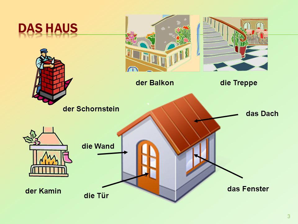 3 das Dach das Fenster die Tür der Schornstein der Kamin der Balkondie Treppe die Wand