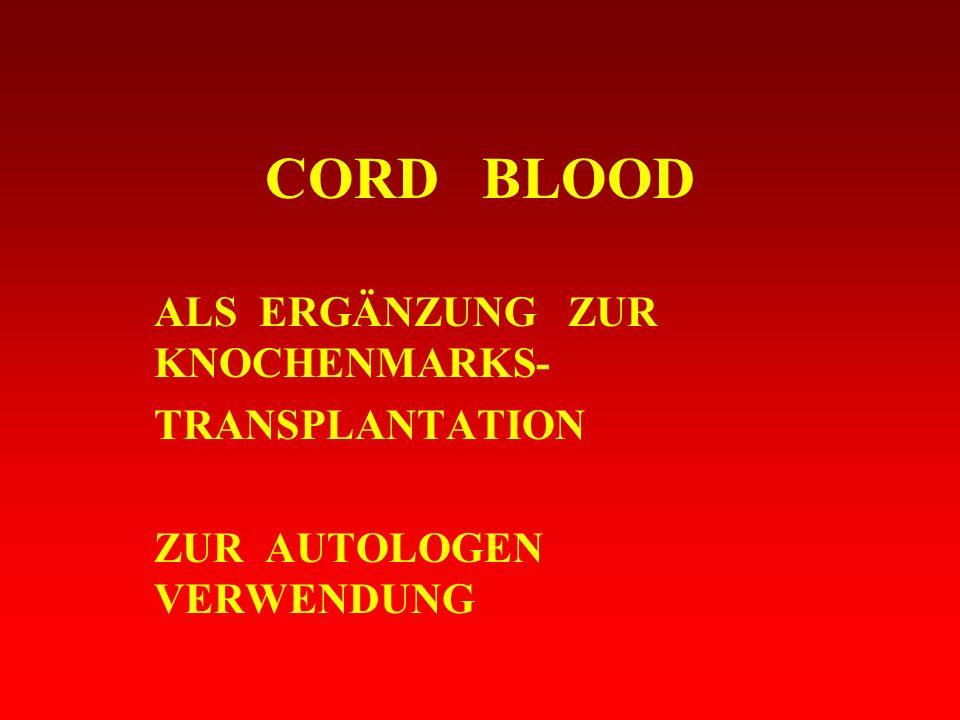 NACHTEIL DES CORD BLOOD GERINGE ZELLZAHL