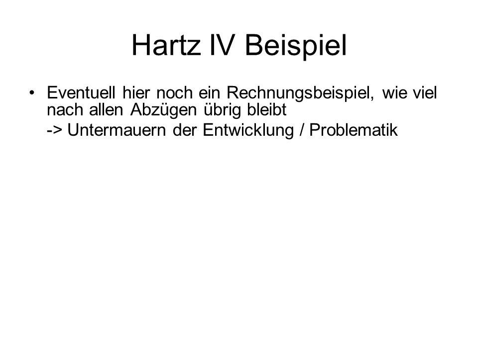 Hartz IV Beispiel Eventuell hier noch ein Rechnungsbeispiel, wie viel nach allen Abzügen übrig bleibt -> Untermauern der Entwicklung / Problematik