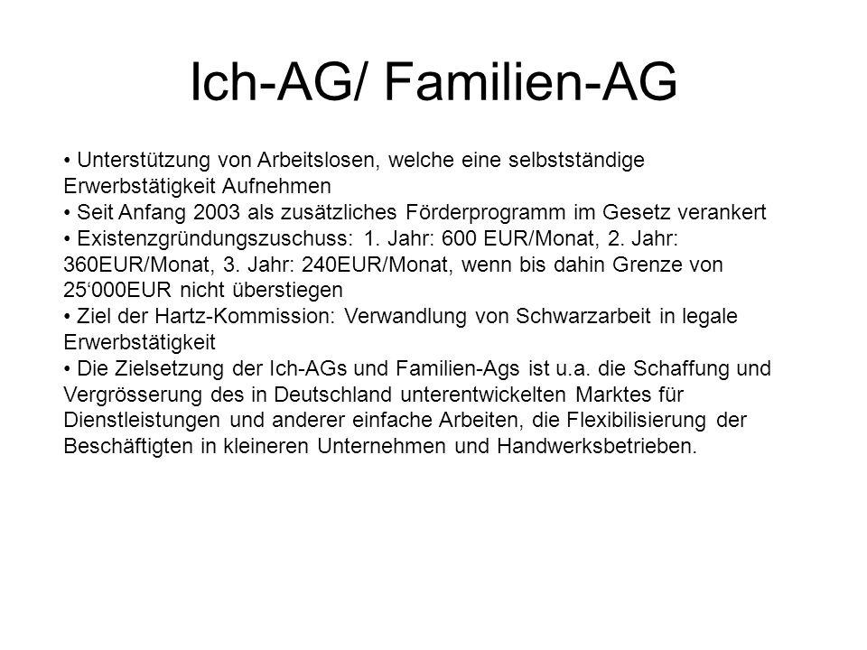 Ich-AG/ Familien-AG Unterstützung von Arbeitslosen, welche eine selbstständige Erwerbstätigkeit Aufnehmen Seit Anfang 2003 als zusätzliches Förderprogramm im Gesetz verankert Existenzgründungszuschuss: 1.