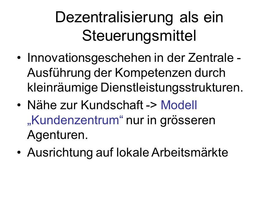 Dezentralisierung als ein Steuerungsmittel Innovationsgeschehen in der Zentrale - Ausführung der Kompetenzen durch kleinräumige Dienstleistungsstrukturen.