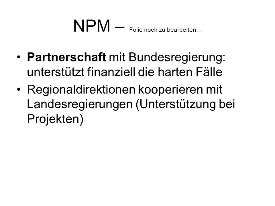 NPM – Folie noch zu bearbeiten… Partnerschaft mit Bundesregierung: unterstützt finanziell die harten Fälle Regionaldirektionen kooperieren mit Landesregierungen (Unterstützung bei Projekten)