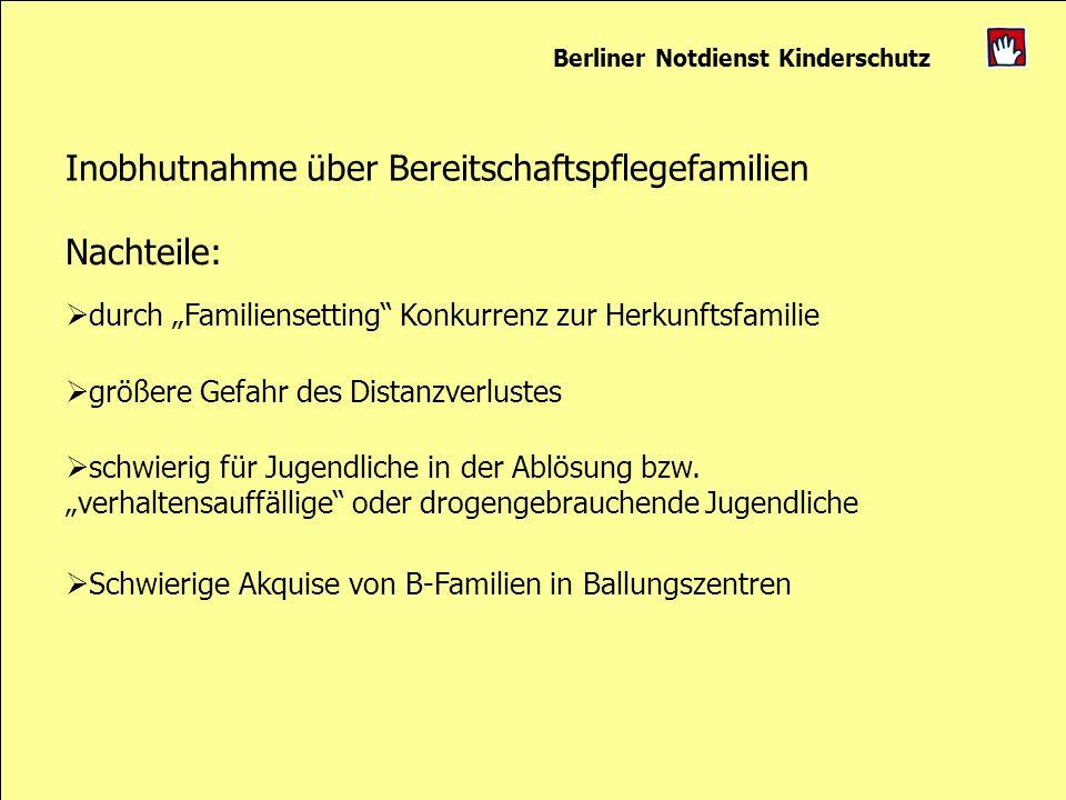 Berliner Notdienst Kinderschutz Inobhutnahme über Bereitschaftspflegefamilien Nachteile: durch Familiensetting Konkurrenz zur Herkunftsfamilie größere