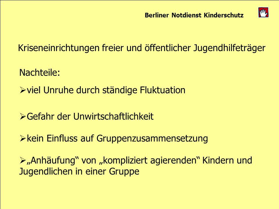 Berliner Notdienst Kinderschutz Kriseneinrichtungen freier und öffentlicher Jugendhilfeträger Nachteile: viel Unruhe durch ständige Fluktuation Gefahr