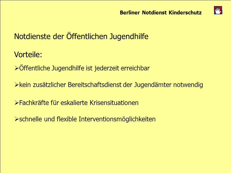 Berliner Notdienst Kinderschutz Notdienste der Öffentlichen Jugendhilfe Vorteile: Öffentliche Jugendhilfe ist jederzeit erreichbar kein zusätzlicher B