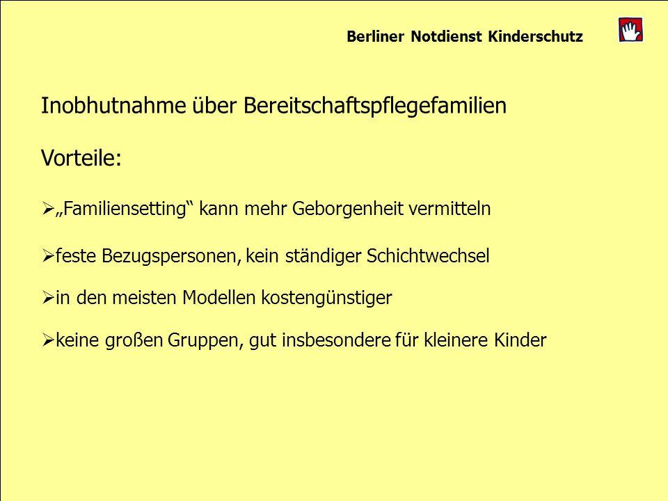 Berliner Notdienst Kinderschutz Inobhutnahme über Bereitschaftspflegefamilien Vorteile: Familiensetting kann mehr Geborgenheit vermitteln feste Bezugs