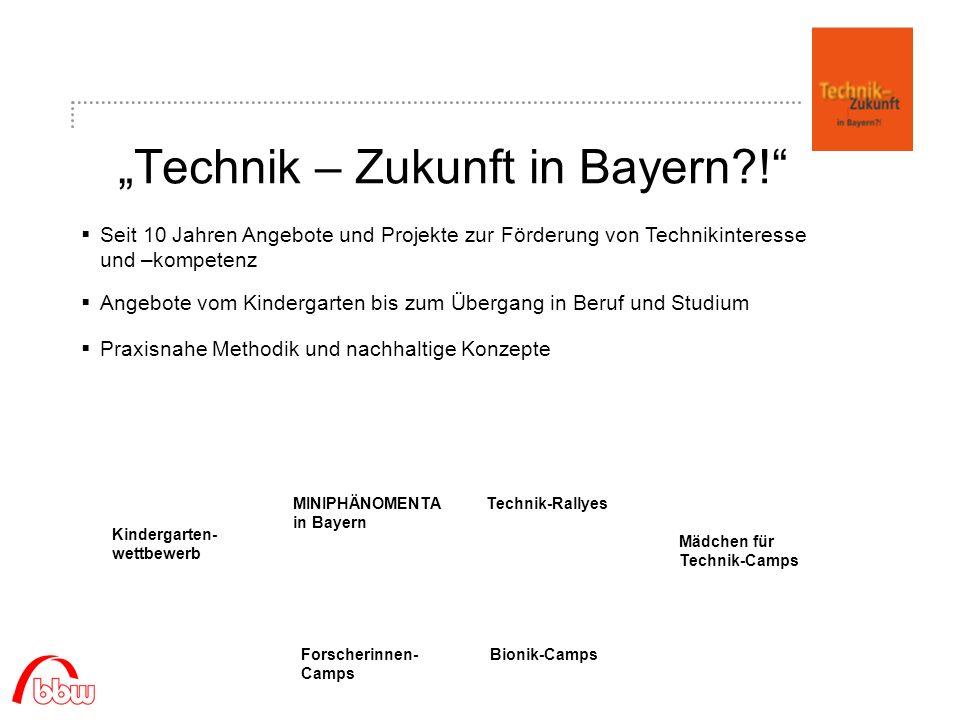 Technik – Zukunft in Bayern?! Seit 10 Jahren Angebote und Projekte zur Förderung von Technikinteresse und –kompetenz Praxisnahe Methodik und nachhalti