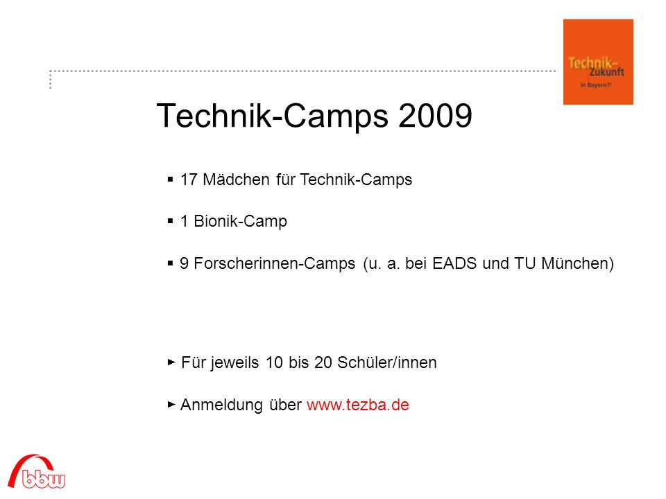 Technik-Camps 2009 17 Mädchen für Technik-Camps 1 Bionik-Camp 9 Forscherinnen-Camps (u.