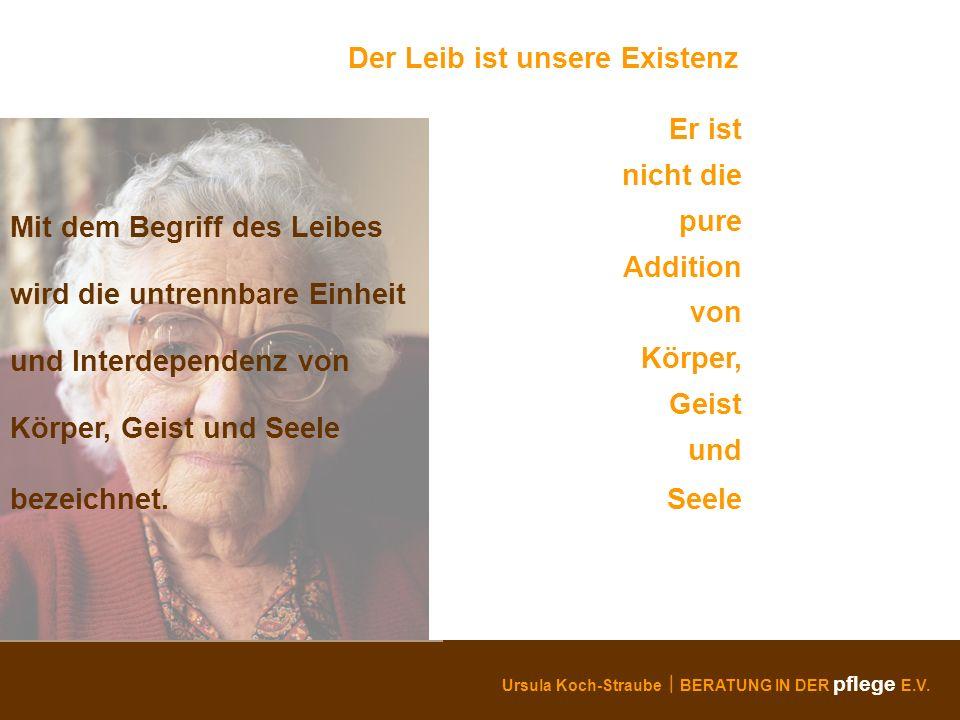 Ursula Koch-Straube BERATUNG IN DER pflege E.V. Der Leib ist unsere Existenz Er ist nicht die pure Addition von Körper, Geist und Seele Mit dem Begrif