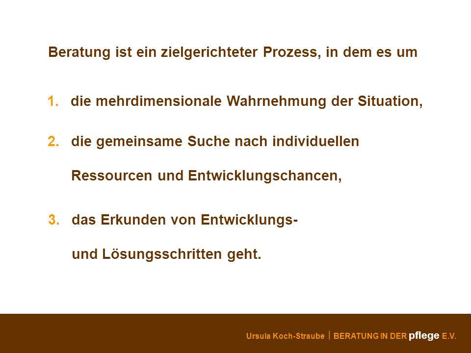 Ursula Koch-Straube BERATUNG IN DER pflege E.V. Beratung ist ein zielgerichteter Prozess, in dem es um 1. die mehrdimensionale Wahrnehmung der Situati