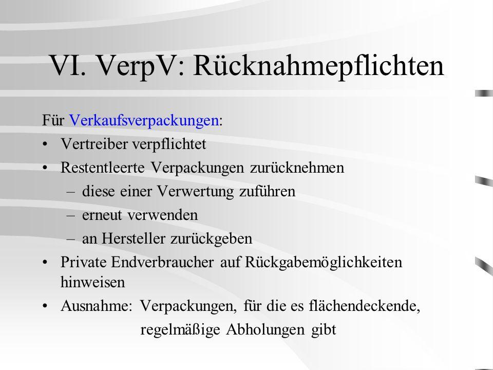 VI. VerpV: Rücknahmepflichten Für Verkaufsverpackungen: Vertreiber verpflichtet Restentleerte Verpackungen zurücknehmen –diese einer Verwertung zuführ