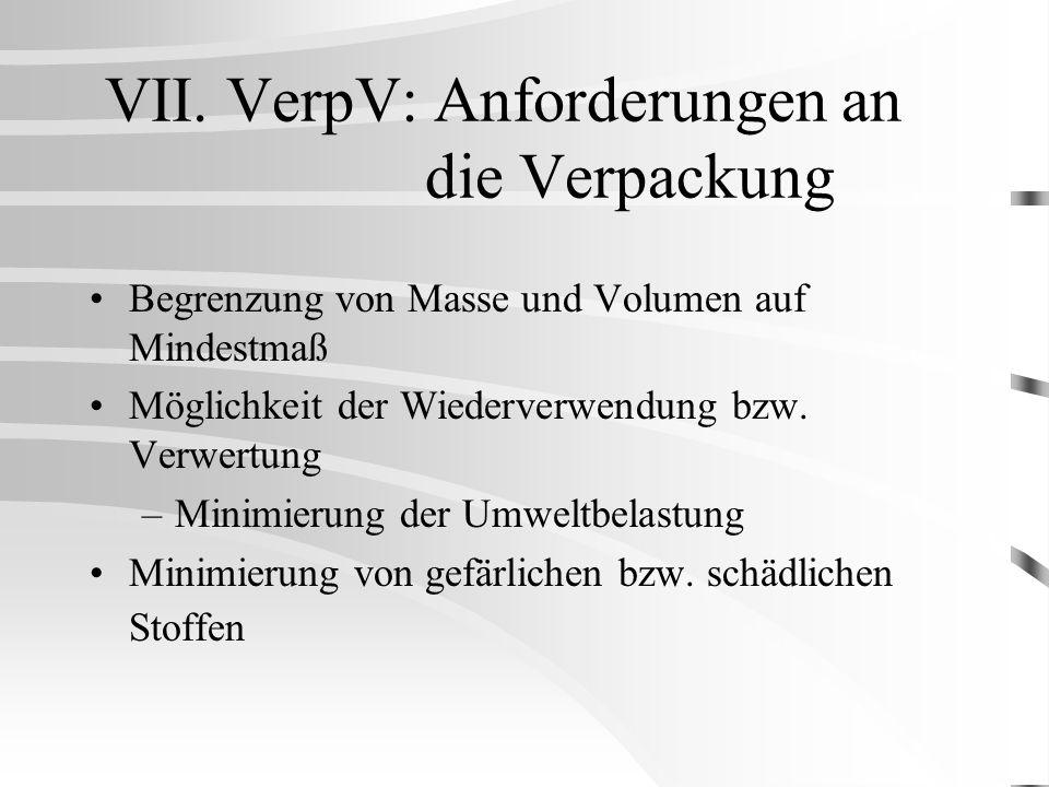 VII. VerpV: Anforderungen an die Verpackung Begrenzung von Masse und Volumen auf Mindestmaß Möglichkeit der Wiederverwendung bzw. Verwertung –Minimier