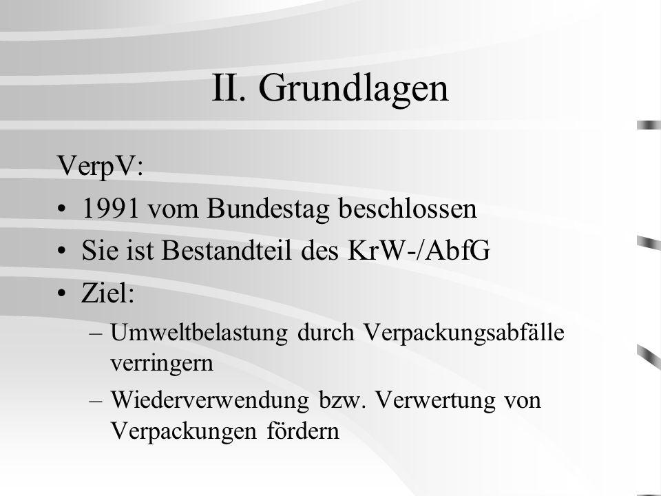 II. Grundlagen VerpV: 1991 vom Bundestag beschlossen Sie ist Bestandteil des KrW-/AbfG Ziel: –Umweltbelastung durch Verpackungsabfälle verringern –Wie