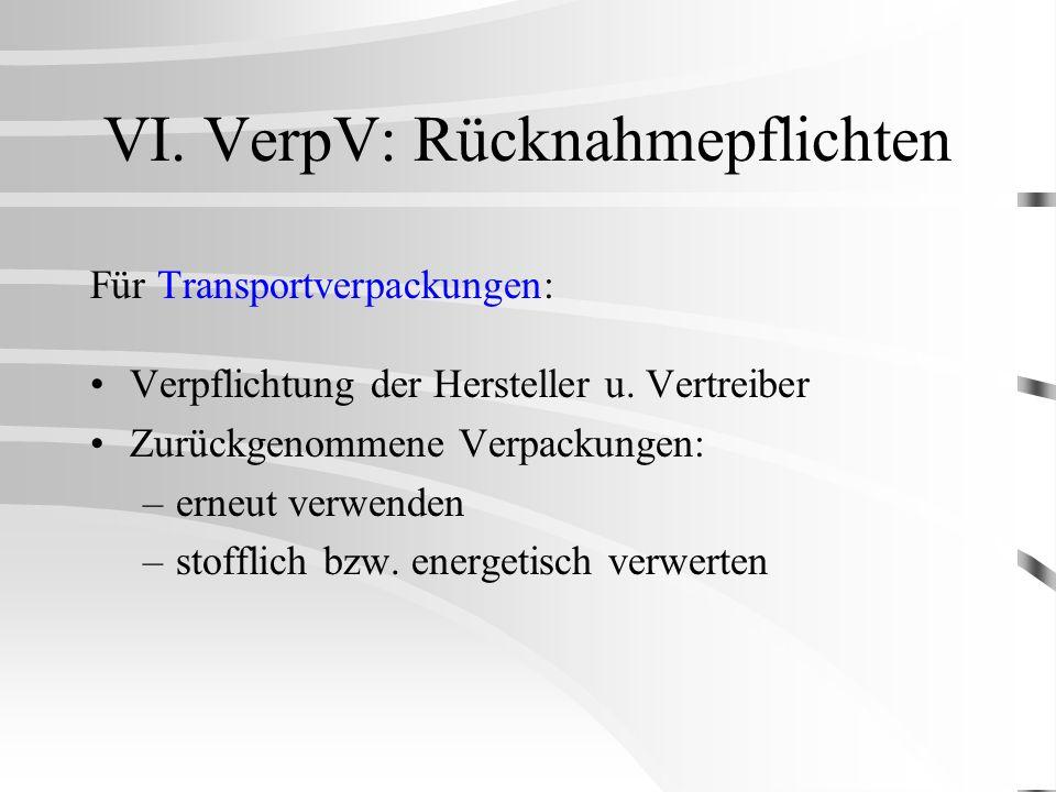 VI. VerpV: Rücknahmepflichten Für Transportverpackungen: Verpflichtung der Hersteller u. Vertreiber Zurückgenommene Verpackungen: –erneut verwenden –s