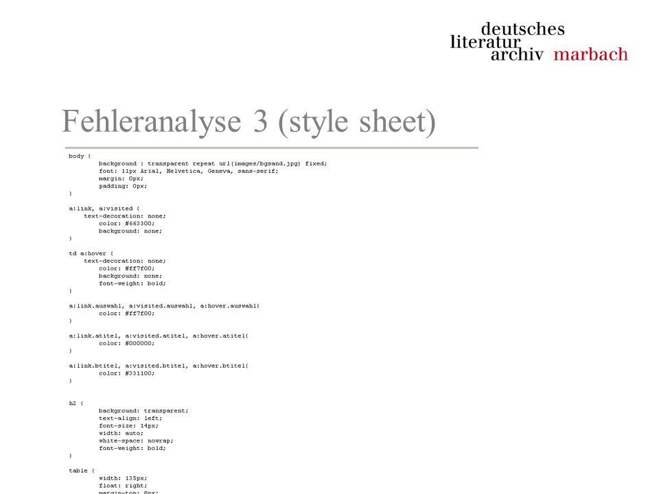 Fehleranalyse 3 (style sheet)