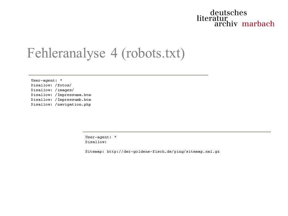 Fehleranalyse 4 (robots.txt)