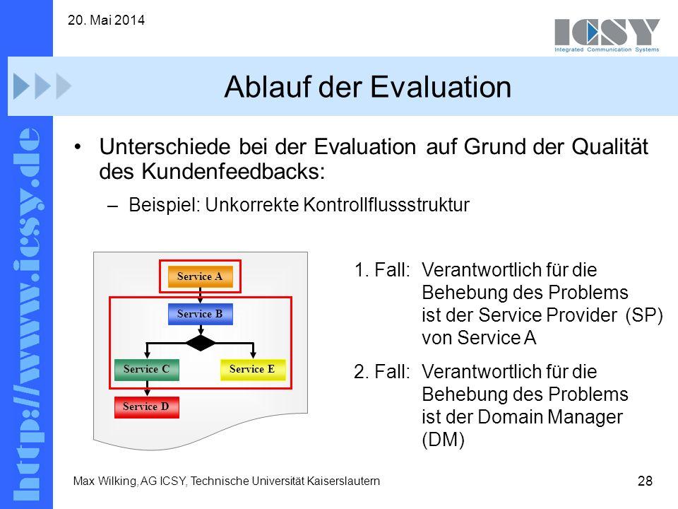 28 20. Mai 2014 Max Wilking, AG ICSY, Technische Universität Kaiserslautern Ablauf der Evaluation Unterschiede bei der Evaluation auf Grund der Qualit