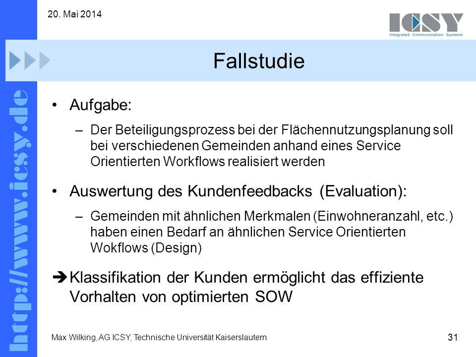 31 20. Mai 2014 Max Wilking, AG ICSY, Technische Universität Kaiserslautern Fallstudie Aufgabe: –Der Beteiligungsprozess bei der Flächennutzungsplanun