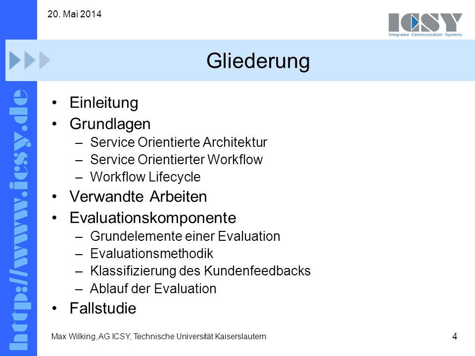 4 20. Mai 2014 Max Wilking, AG ICSY, Technische Universität Kaiserslautern Gliederung Einleitung Grundlagen –Service Orientierte Architektur –Service