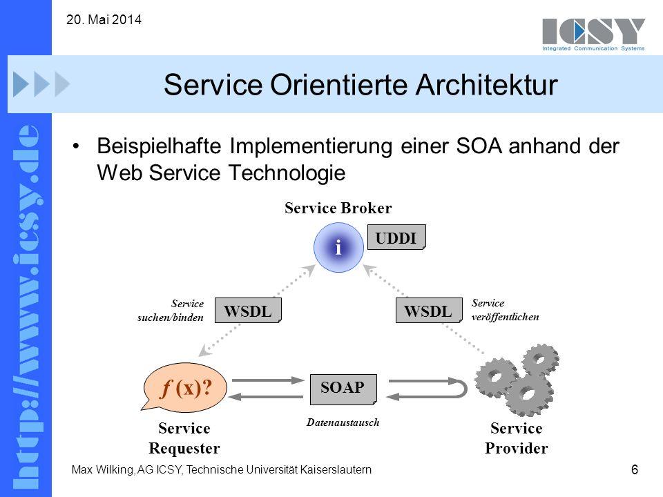 6 20. Mai 2014 Max Wilking, AG ICSY, Technische Universität Kaiserslautern Service Orientierte Architektur Beispielhafte Implementierung einer SOA anh