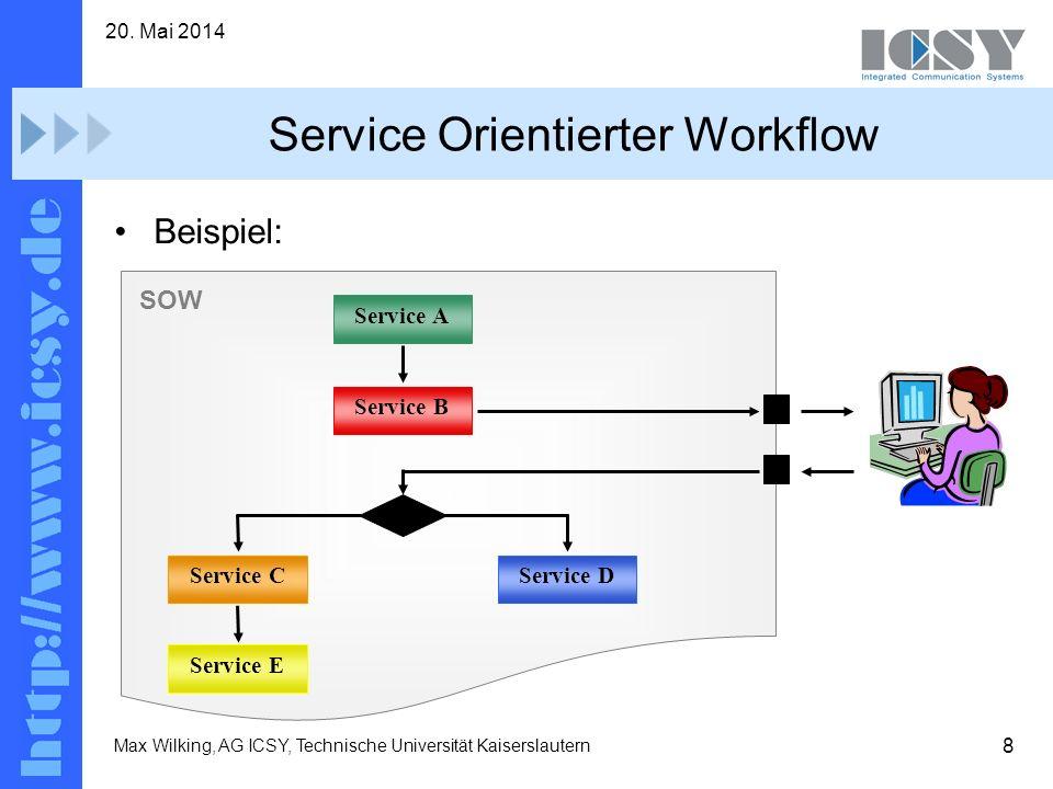 8 20. Mai 2014 Max Wilking, AG ICSY, Technische Universität Kaiserslautern Service Orientierter Workflow Beispiel: Service A Service B Service CServic