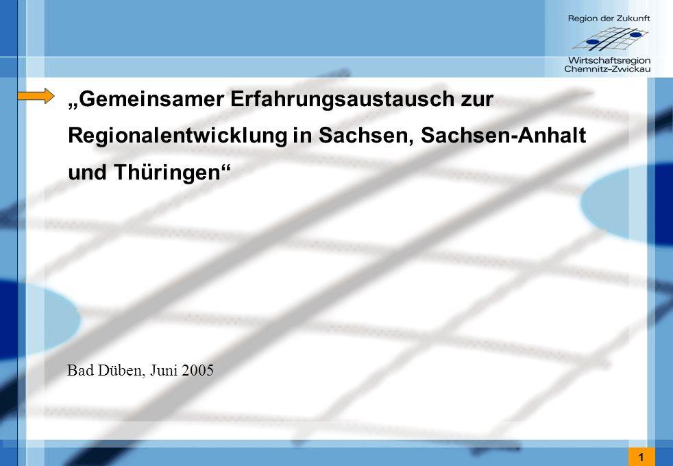 1 Gemeinsamer Erfahrungsaustausch zur Regionalentwicklung in Sachsen, Sachsen-Anhalt und Thüringen Bad Düben, Juni 2005