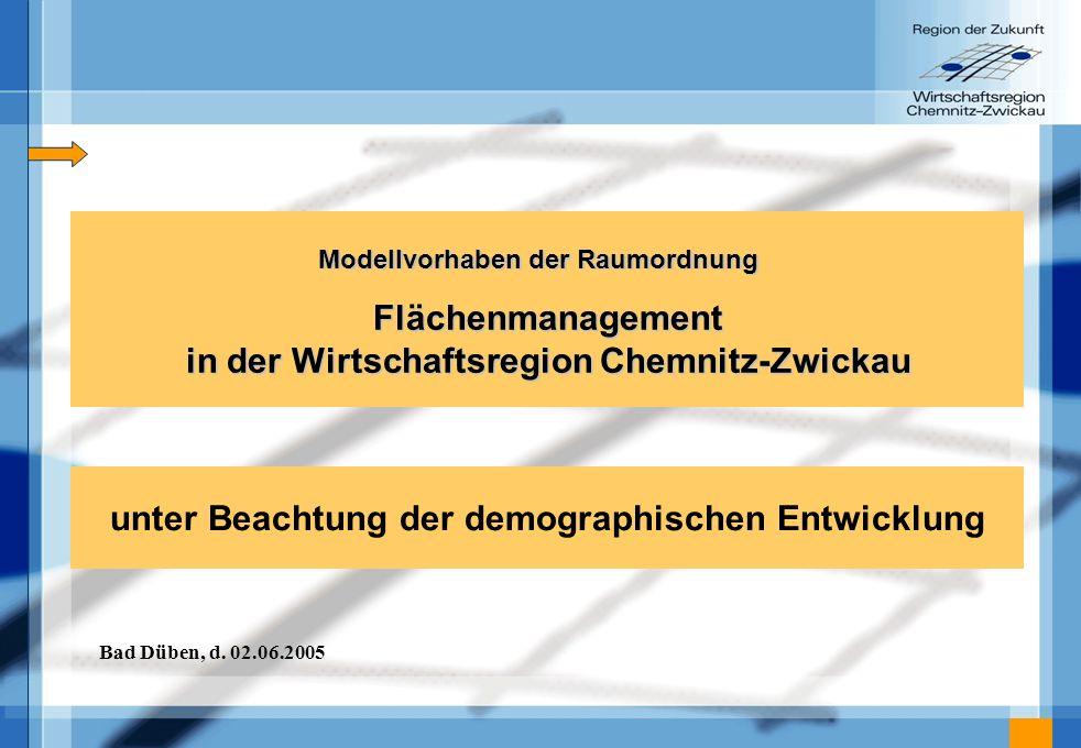 Flächenmanagement in der Wirtschaftsregion Chemnitz-Zwickau Modellvorhaben der Raumordnung unter Beachtung der demographischen Entwicklung Bad Düben,